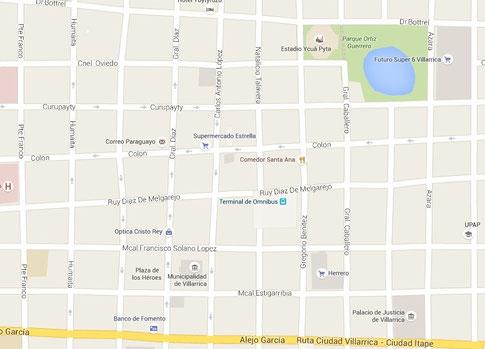 Der Stadtplan von Villarrica
