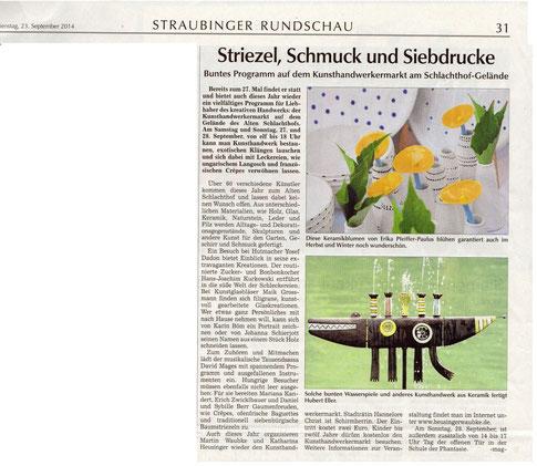 Artikel über Kunsthandwerkermarkt am Alten Schlachthof in Straubing
