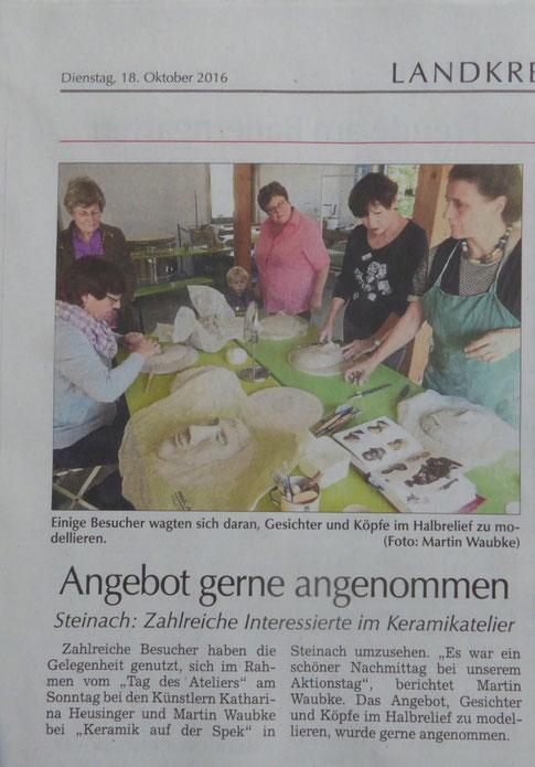 Gesichter und Köpfe im Halbrelief modellieren bei Ateliers in Niederbayern, Keramik auf der Spek