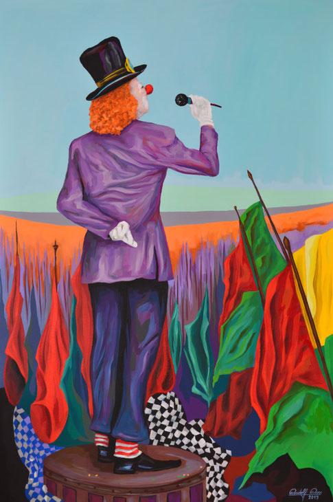 Ein Clown der auf einem Podest steht und eine Rede hält. Das Bild ist mit Acrylfarben auf Leinwand gemalt und hat die Maße 80 x 120 x 4 cm.