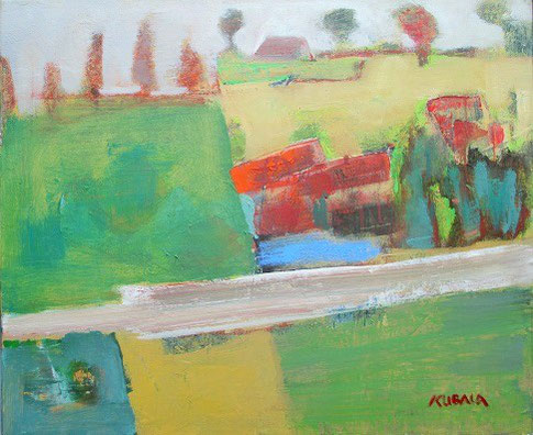 La ferme du bonheur, huile sur, 46 x 55 cm