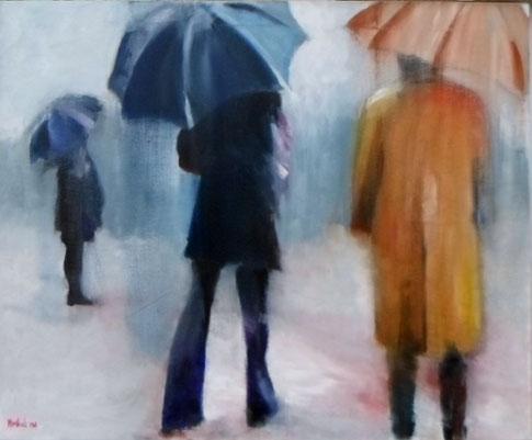 2. Les parapluies  Acrylique sur toile  61 x 50 cm.  2018