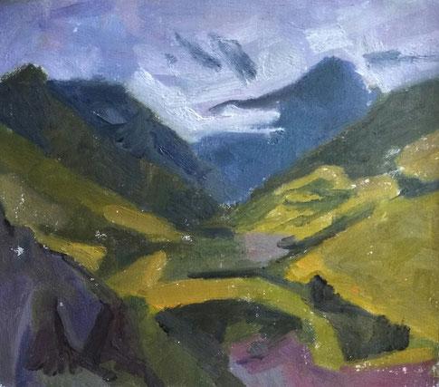 1. Les alpes de Provence,        Huile sur panneau   38 x 43 cm    2018