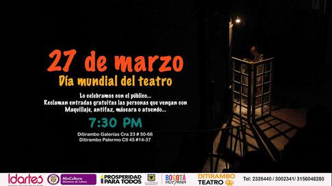 27 de marzo Día Mundial Del Teatro Ditirambo celebra con entrada libre y atuendo