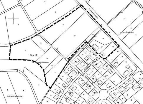 """Geltungsbereich des Bebauungsplanes Angersbach Nr. 16 """"Helmsgründchen"""", unmaßstäblich"""