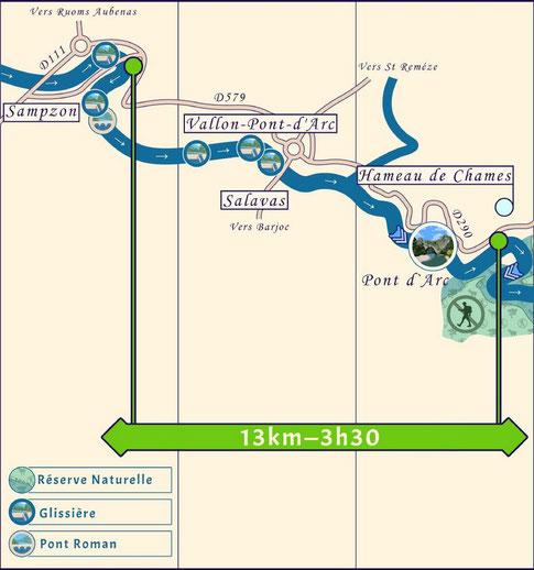 Descente de l'Ardèche entre Sampzon et Châmes.