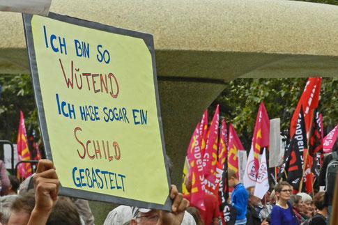 """Во время митинга: """"Я так рассержен, что даже нарисовал плакат!"""""""