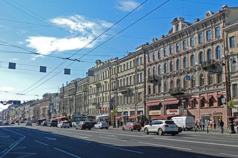 Newski Prospekt in St. Petersburg, Blickrichtung Westen
