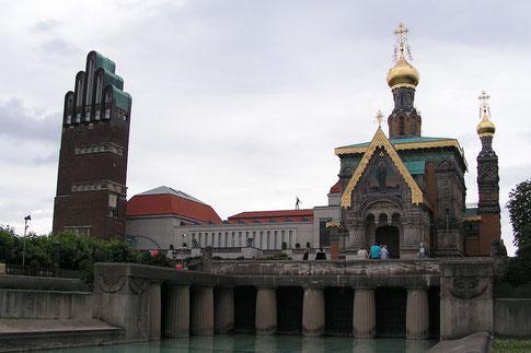Mathildenhöhe mit Hochzeitsturm und Maria-Magdalena-Kirche