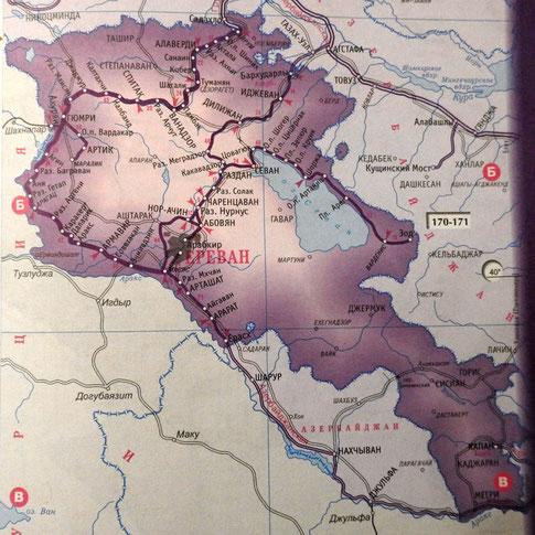 Ausschnitt aus einem russischen Eisenbahn-Atlas für die GUS-Staaten