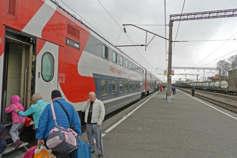 RZD Zug Doppelstock-Schlafwagen Rjasan