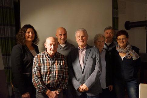 Das Vorstandsteam zusammen mit den geehrten langjährigen Mitgliedern: Franz Speh, Günther Senfle, Albrecht Widmer und Ingrid Waibel