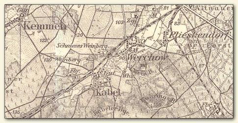 Ausschnitt aus einem Messtischblatt von 1906 mit mehreren Weinbergen um Werchow (Lausitzer Weinfreunde)