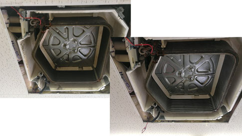 業務用エアコン洗浄前と洗浄後の写真