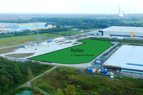 Umrahmt von Amazon(hinten) und Thermo-Sensor(rechts) entsteht bald die neue Rollex-Produktions-Halle – also genau da, wo alles grün markiert ist.  Foto: Wirtschaftsförderung der Stadt Werne