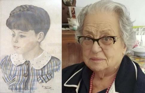 Iolanda Cagnina nel ritratto del 1940 ed oggi.