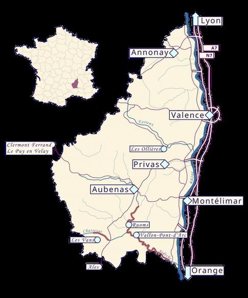 Venir à Ruoms en Ardèche depuis la vallée du Rhône ou du Massif Central
