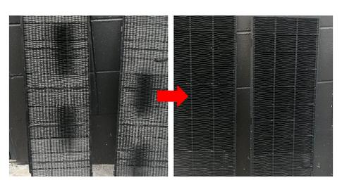 業務用エアコンクリーニング 天カセエアコンクリーニング フィルター清掃 目づまりしたフィルターと洗浄後のフィルターの写真