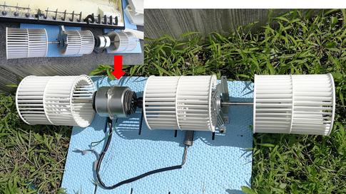 業務用エアコンクリーニング 天吊り型 シロッコファン洗浄