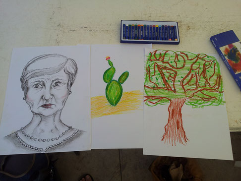 In downtown was a free art workshop. The first picture is Hilary's, the cactus mine and the third Alice's.