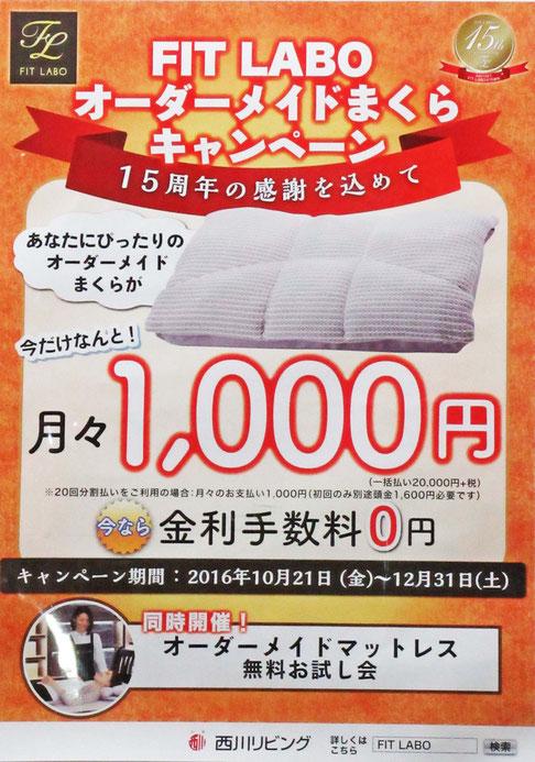 FIT LABO 15周年記念! オーダーメイド枕 月々1,000円!!!