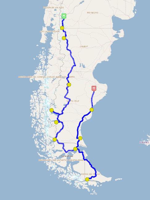 Patagonia road trip route