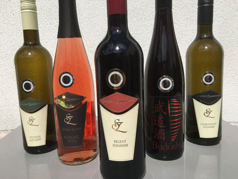 Selection of award-winning wines, including our Terra Luna and Budôshu lines specially treated and improved wines