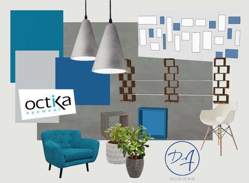 Planche d'ambiance pour les bureaux Octika à Mauguio - Décor Zé Âme