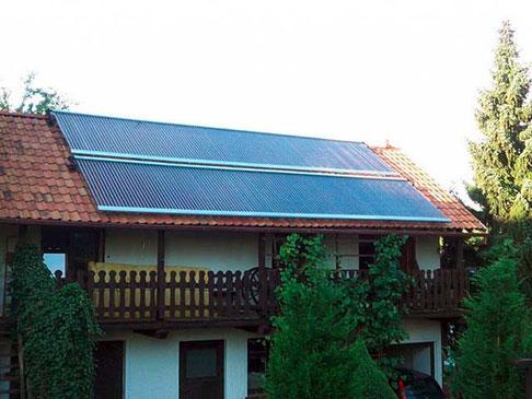 Einfamilienhaus Crimmitschau, Deutschland, Dachmontage, 240 heat pipe Röhren, Brauchwassererwärmung und Heizungsunterstützung