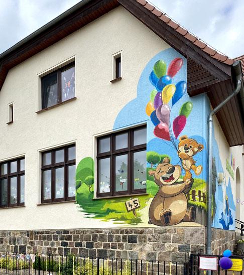 Graffiti an der Kita in Prignitz