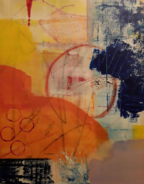 """2019 C202  Life in Circles Acrylic on Canvas  April 2019  20.00"""" H x 16.00"""" W  SOLD"""