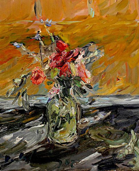 Strauß mit chinesischen Rosen   2002, Öl auf LW, 33 cm x 41 cm