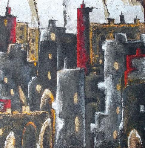 Big City - Mischtechnik auf Leinwand - 90 x 90