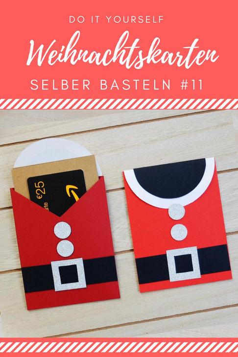DIY Weihnachtskarten selber basteln Tutorial Anleitung - Weihnachtsmann