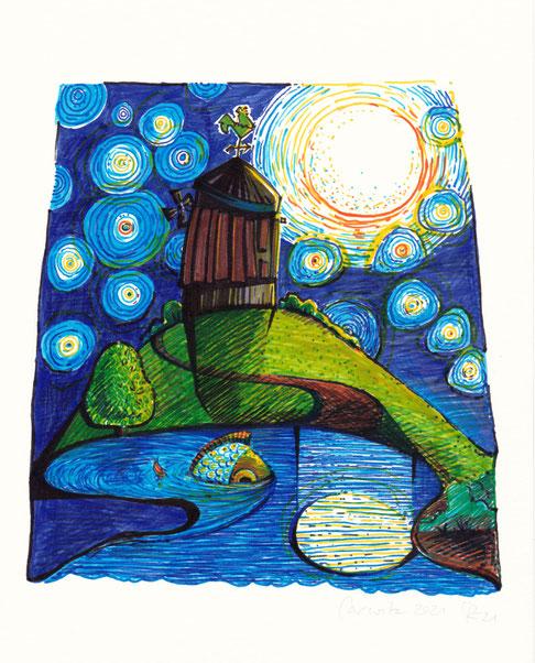 Die Carwitzer Mühle am See. Ein magischer Ort. Die Künsterin badete dort nachts bei Vollmond und hat so ihre Erinnerungen daran.