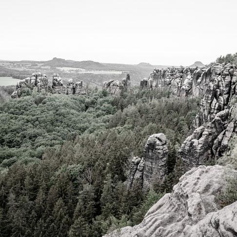 schrammsteine elbe sandstone mountains saxony germany