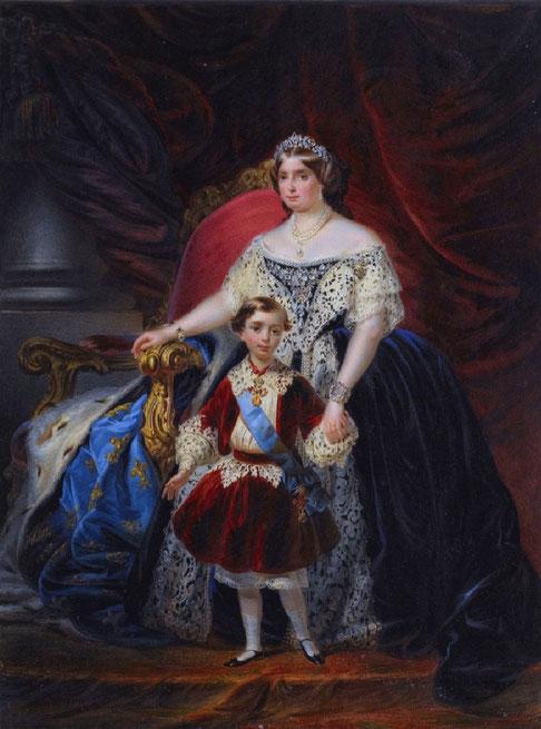 LOUISE D' ARTOIS, SOEUR DU COMTE DE CHAMBORD avec SON FILS ROBERT Ier DUC DE PARME et DE PLAISANCE  (9 Juill. 1848 Florence + 16 Nov. 1907 Viareggio).  et HERITIER DU COMTE DE CHAMBORD.