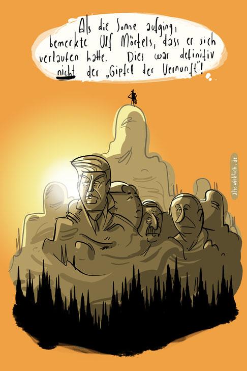 Mount Rushmore, Präsidenten, Trump, Kim Jung Un, Erdogan, Putin, Bergsteiger, Gipfel der Vernunft, Sonnenaufgang
