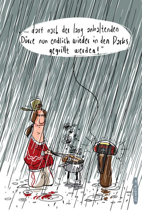 grillen, Regen, Dürre, Park, Kevin Pulluwke, Radio Durchsage, News, Nachrichten, Wetter, Wetterbericht