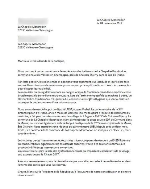 La lettre des lanceurs d'alerte adressée au Président de la République.