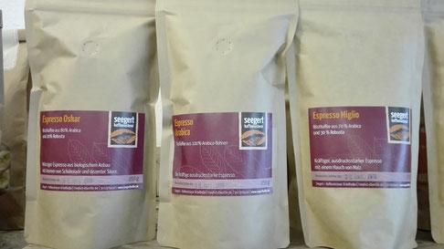 Und noch den Espresso aus der Kaffeerösterei Seegert, sehr gut verträglich!!!