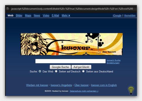 Gefakte Google Homepage