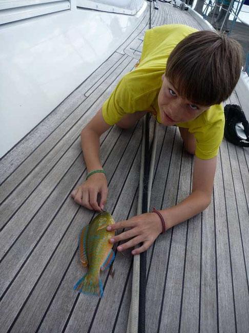 Thibault fier de sa pêche