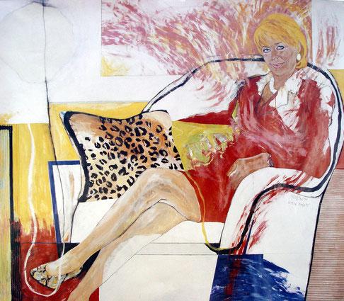 Gerda Rogers 1997, Mischtechnik auf Papier, 110 x 129 cm