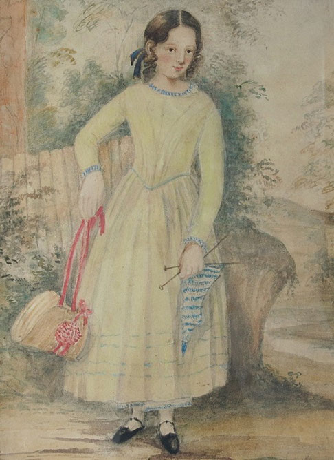 Naive folk art watercolour of a girl with knitting
