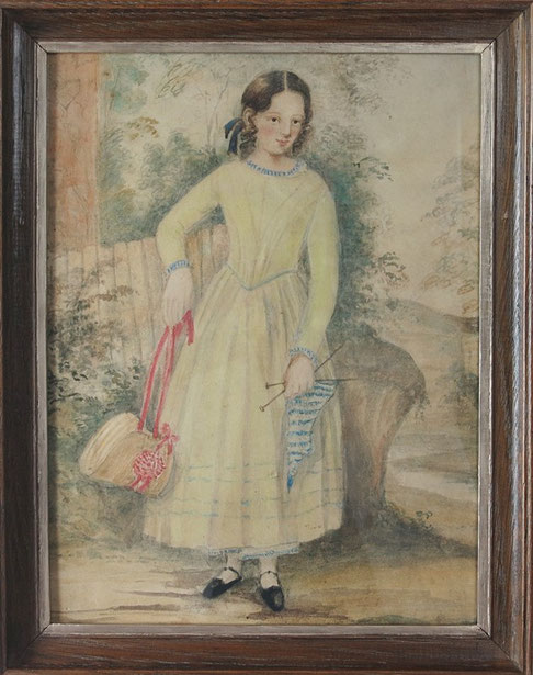 Naive folk art watercolor of a girl with knitting