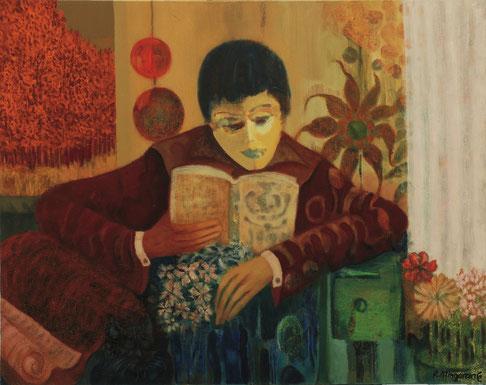 Mientras el gato duerme, él se afana en la lectura - 92 x 73 cm - óleo/lienzo - Guillermo R. Mingorance