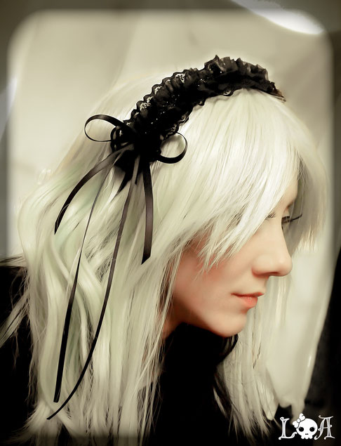Gothic Lolita Black Lace Headband with Side Bows