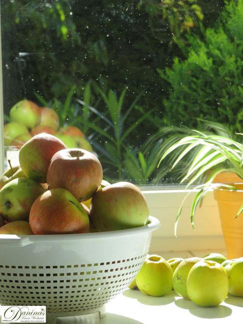 Herbstdeko im Haus mit Quitten - Idee by Daninas-Kunst-Werkstatt.at