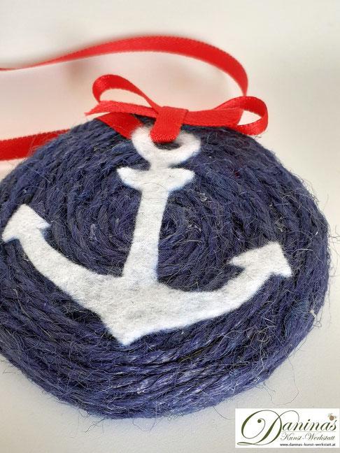 Upcycling Anleitung - Maritimen Aufhänger aus Twist Off Deckel basteln